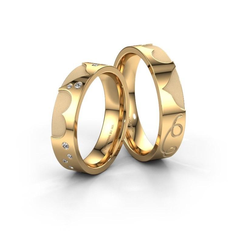 Trouwringen set WH2114LM25A ±5x1.7 mm 14 karaat goud diamant 0.015 crt