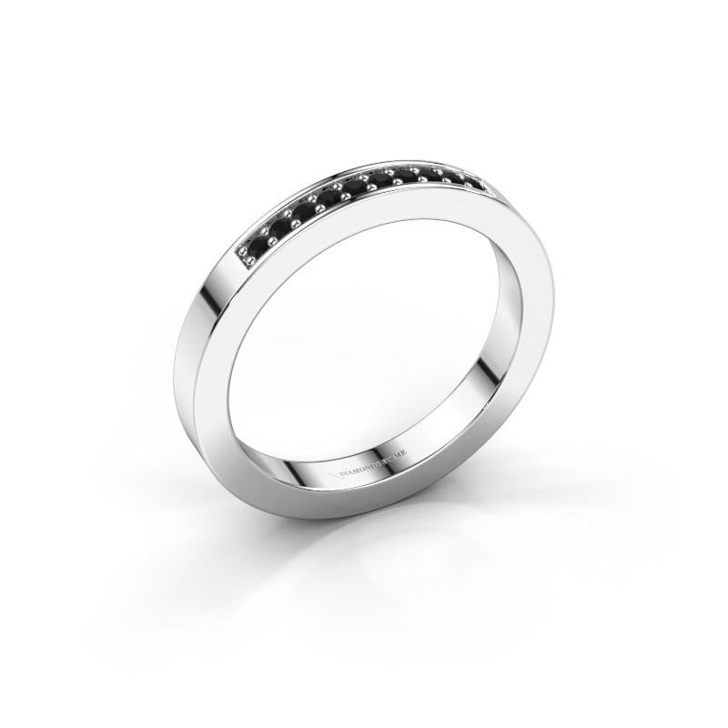 Stackable ring Loes 3 925 silver black diamond 0.12 crt