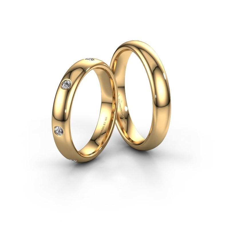 Trouwringen set WH0105LM34BP ±4x2 mm 14 karaat rosé goud diamant 0.315 crt