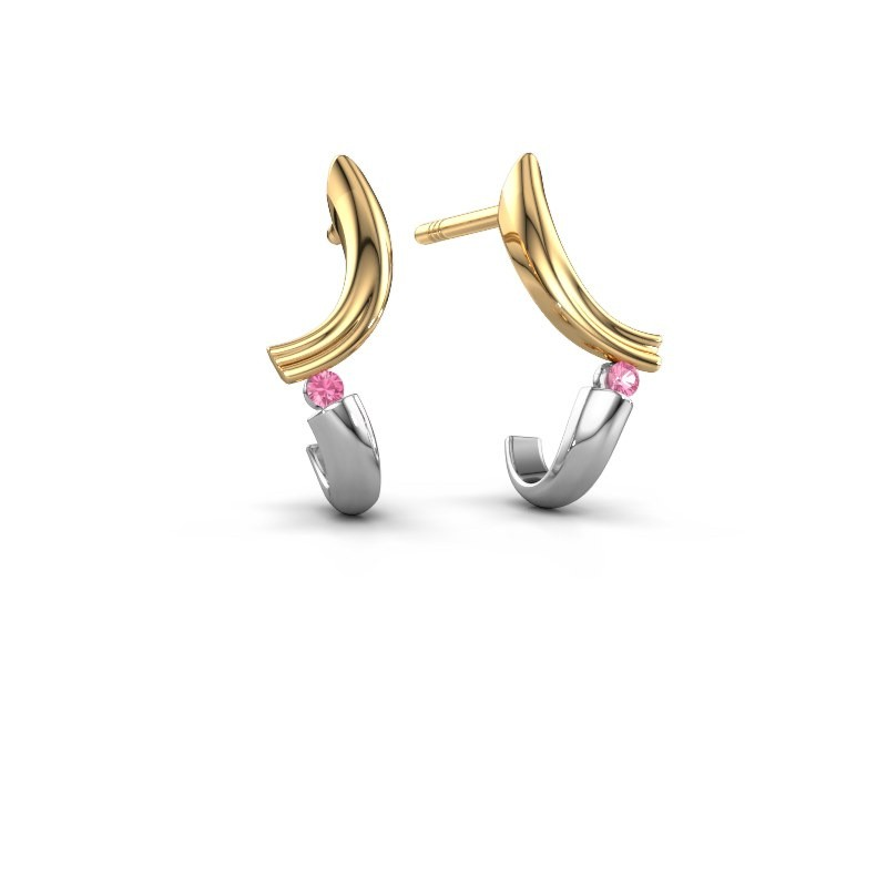 Earrings Tish 585 gold pink sapphire 1.5 mm