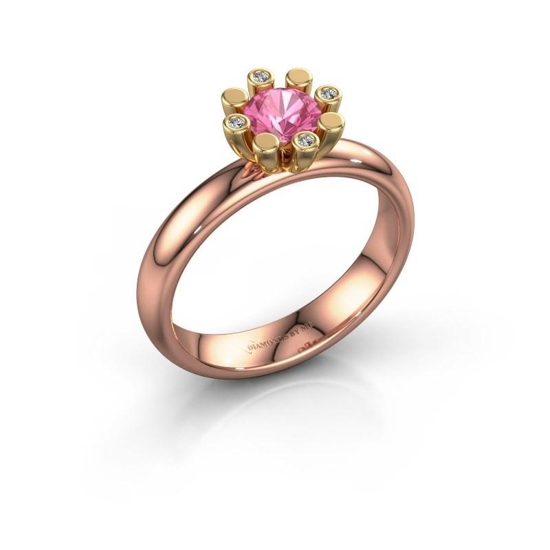 Stapelring Carola 2 585 rosé goud roze saffier 5 mm