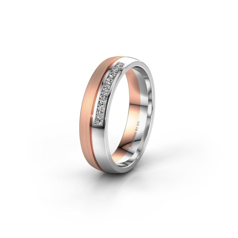 Wedding ring WH0209L25APM 585 rose gold zirconia ±0.20x0.07 in