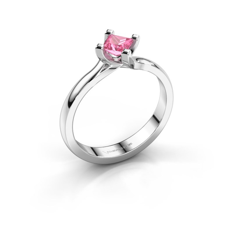 Engagement ring Dewi Square 950 platinum pink sapphire 4 mm