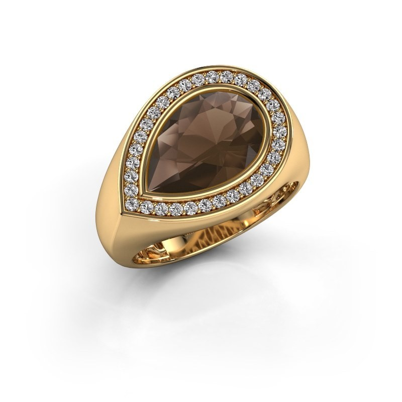 Ring Latashia 585 gold smokey quartz 12x8 mm