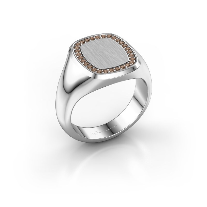 Heren ring Floris Cushion 3 585 witgoud bruine diamant 0.225 crt
