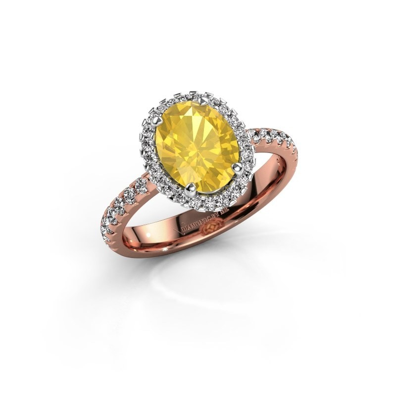 Verlovingsring Lavelle 585 rosé goud gele saffier 9x7 mm