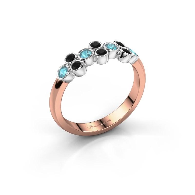 Ring Kayleigh 585 Roségold Blau Topas 2.4 mm