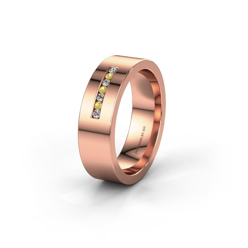 Wedding ring WH0108L16BP 375 rose gold yellow sapphire ±6x2 mm