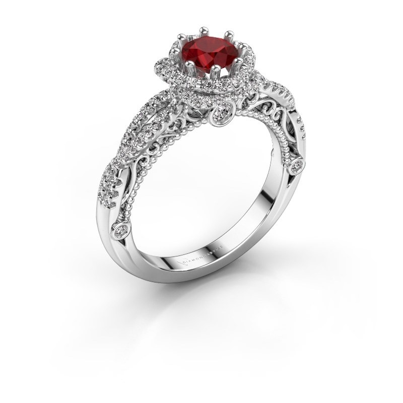 Engagement ring Lysanne 925 silver ruby 5 mm