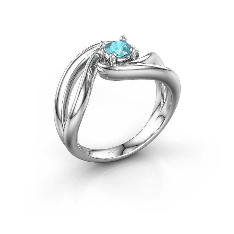Ring Kyra 585 white gold blue topaz 4 mm