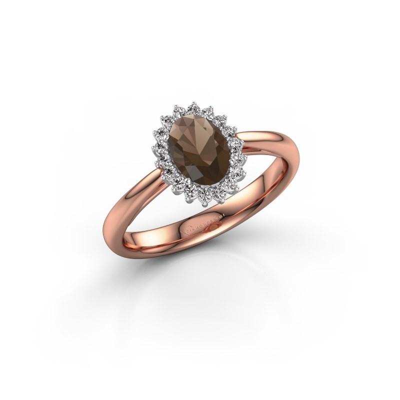 Engagement ring Tilly ovl 1 585 rose gold smokey quartz 7x5 mm