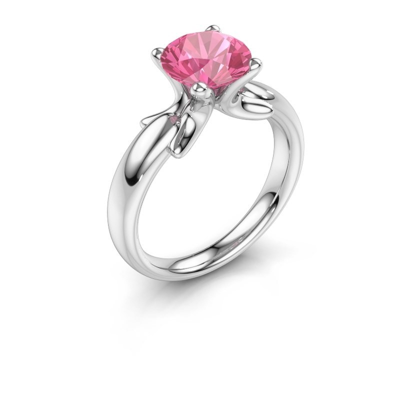 Ring Jodie 925 silver pink sapphire 8 mm
