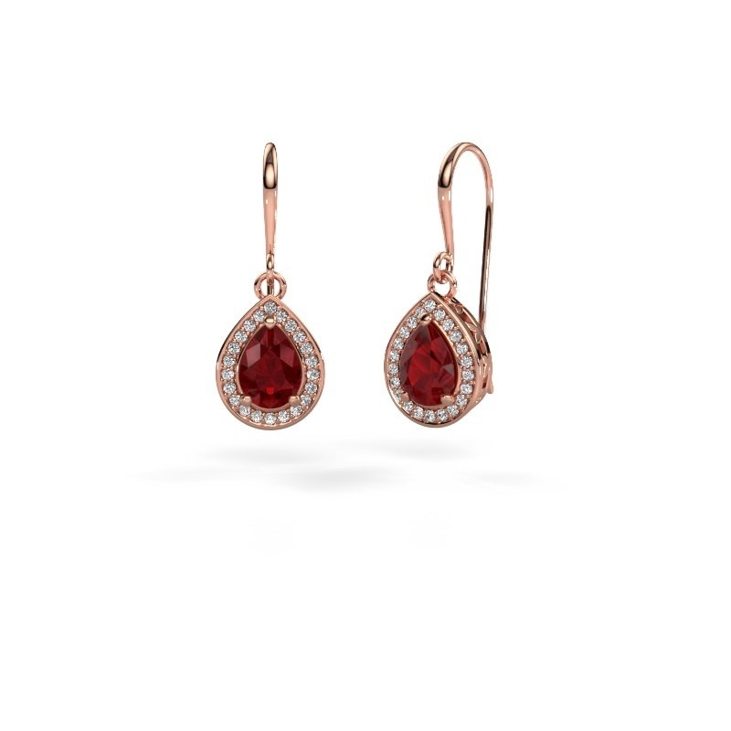 Oorhangers Beverlee 1 375 rosé goud robijn 7x5 mm