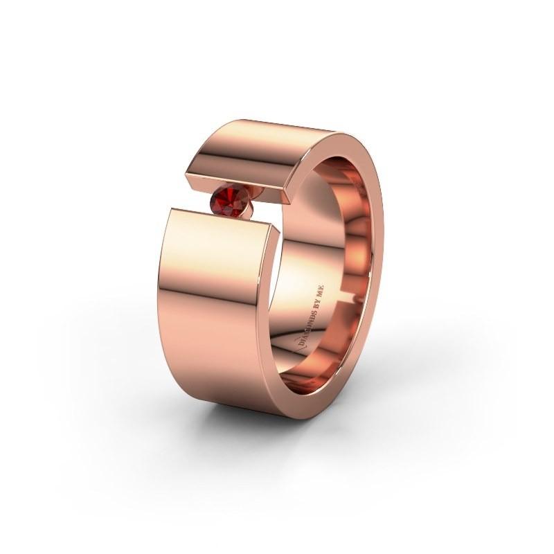 Trouwring WH0146L18BP 375 rosé goud granaat ±8x2 mm
