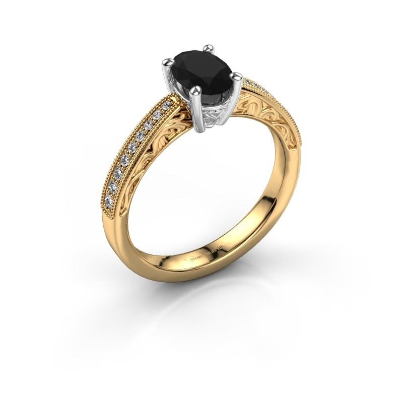 Bague de fiançailles Shonta OVL 585 or jaune diamant noir 1.09 crt
