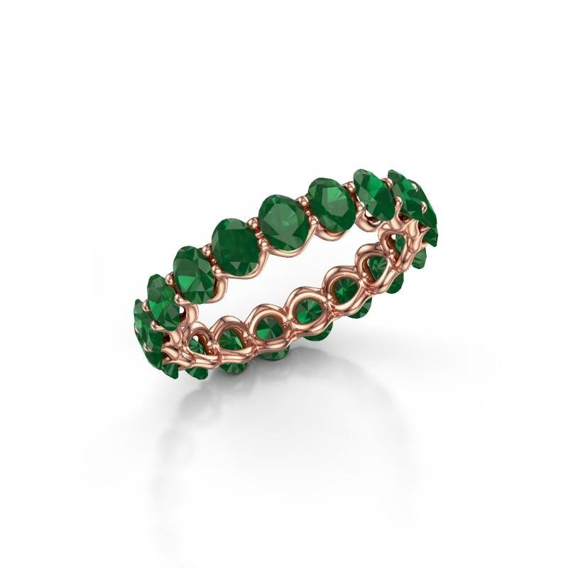 Ring Kirsten OVL 4x3 375 Roségold Smaragd 4x3 mm