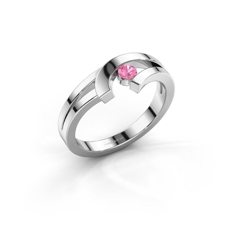 Ring Yentl 585 witgoud roze saffier 3 mm