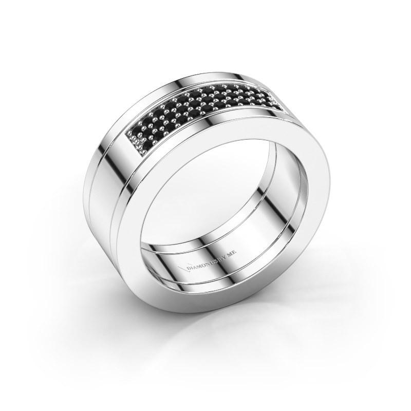 Ring Marita 1 925 zilver zwarte diamant 0.28 crt