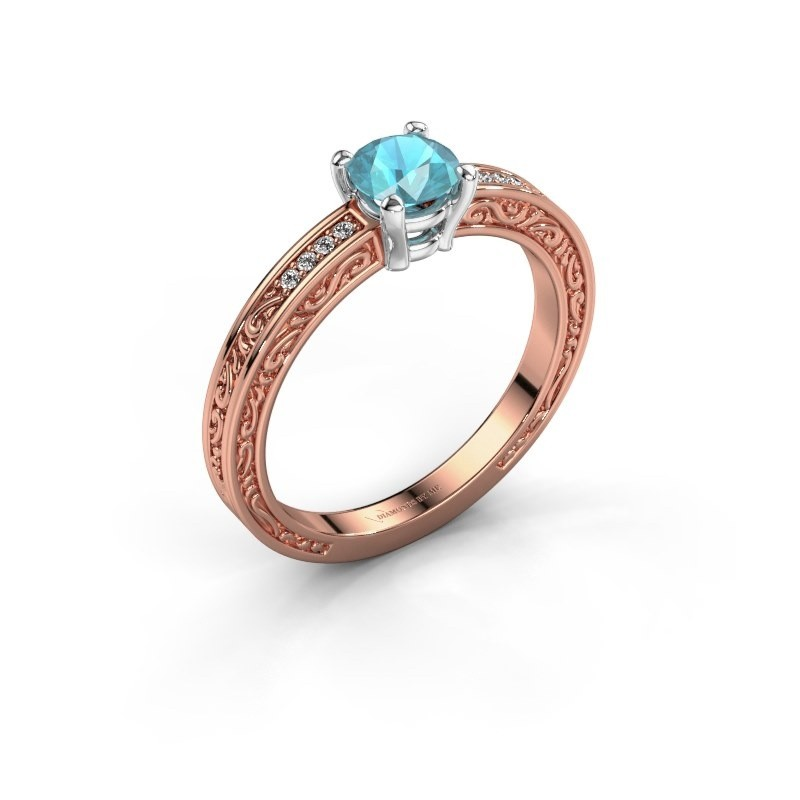 Verlovingsring Claudette 2 585 rosé goud blauw topaas 5 mm