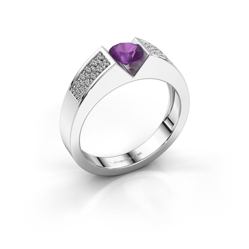 Engagement ring Lizzy 3 925 silver amethyst 5 mm
