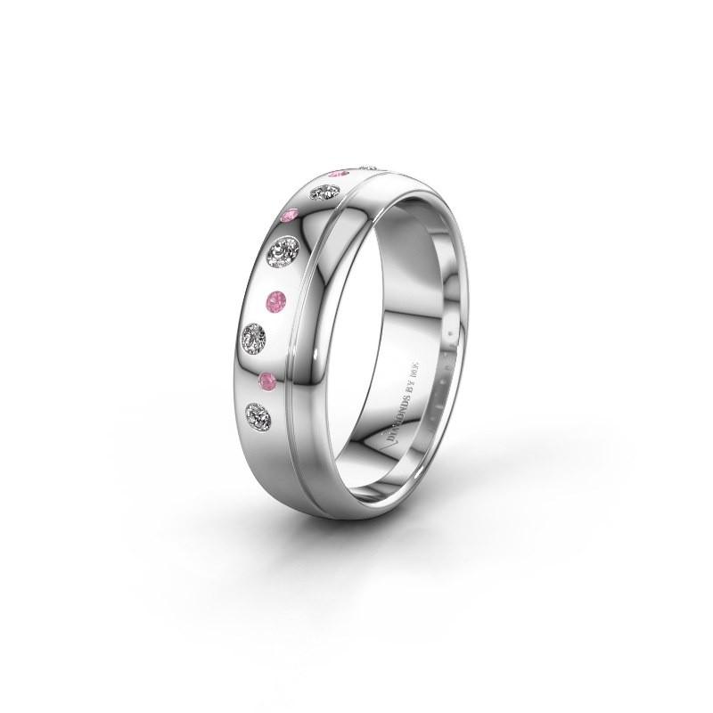 Trouwring WH0317L36AP 925 zilver roze saffier ±6x1.7 mm