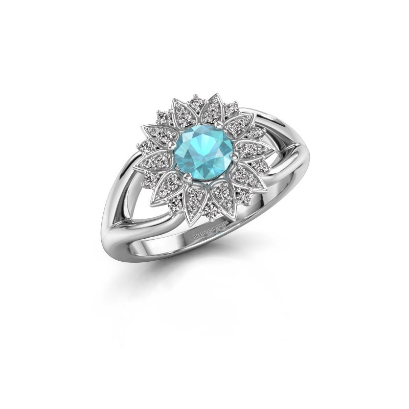 Verlovingsring Chasidy 1 585 witgoud blauw topaas 5 mm
