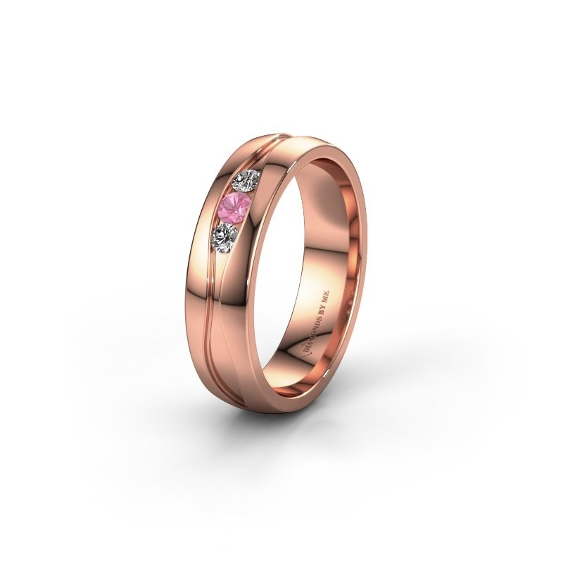 Wedding ring WH0172L25A 375 rose gold pink sapphire ±0.20x0.07 in