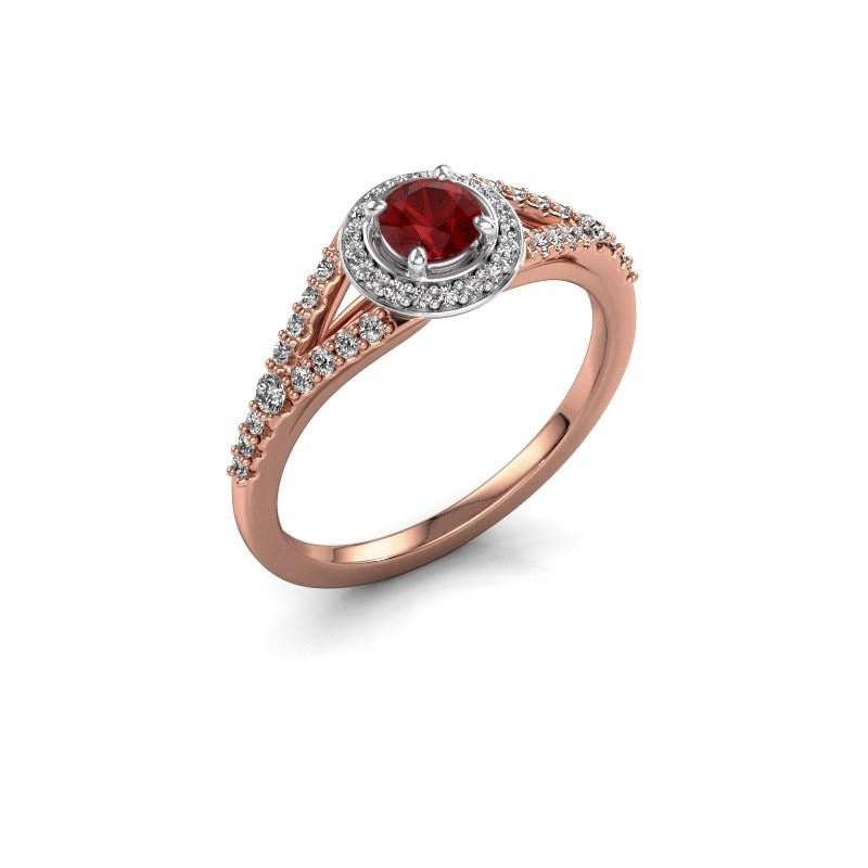 Verlovingsring Pamela RND 585 rosé goud robijn 4 mm