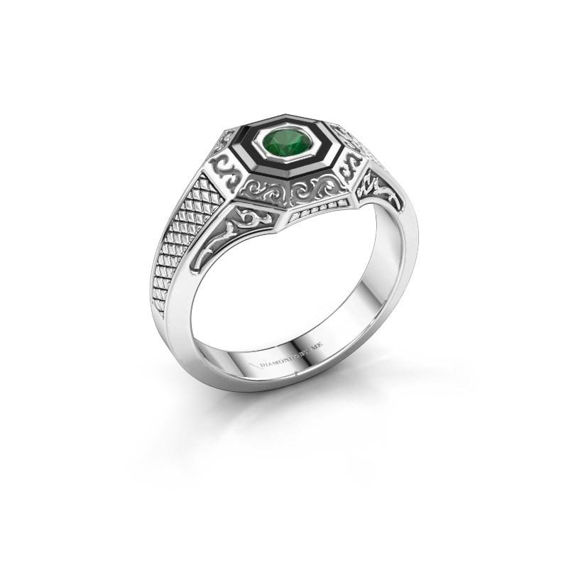 Men's ring Dion 925 silver emerald 4 mm