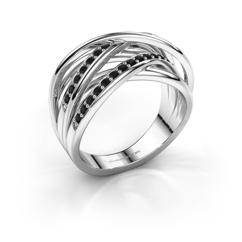 Ring Fem 2 585 white gold black diamond 0.540 crt
