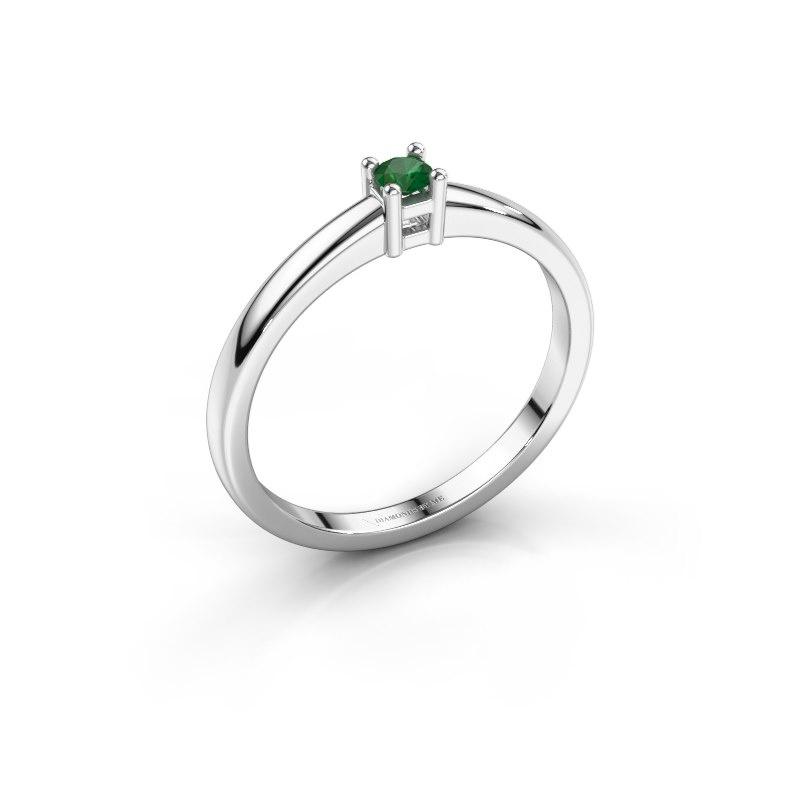 Promise ring Eline 1 585 witgoud smaragd 3 mm