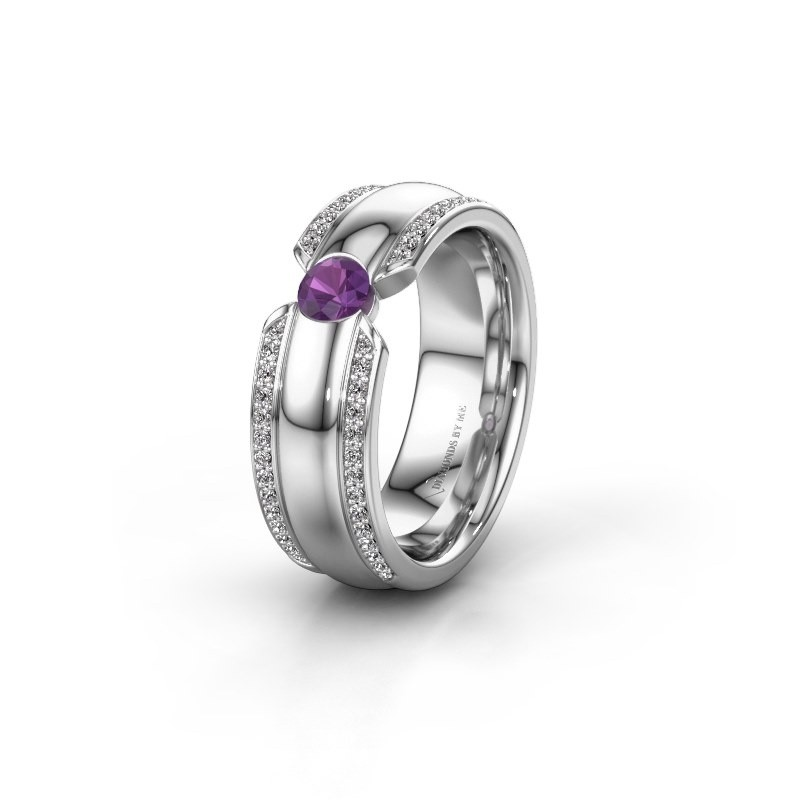 Wedding ring WHR0575L 925 silver amethyst ±0.28x0.08 in