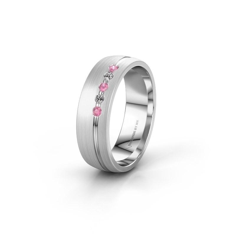 Trouwring WH0323L25AM 950 platina roze saffier ±6x1.7 mm