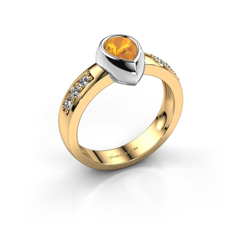 Ring Charlotte Pear 585 Gold Citrin 8x5 mm