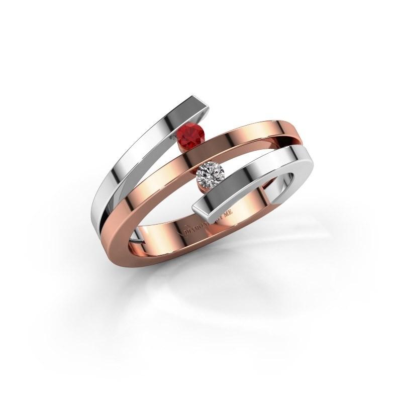 Ring Synthia 585 rosé goud robijn 2.5 mm