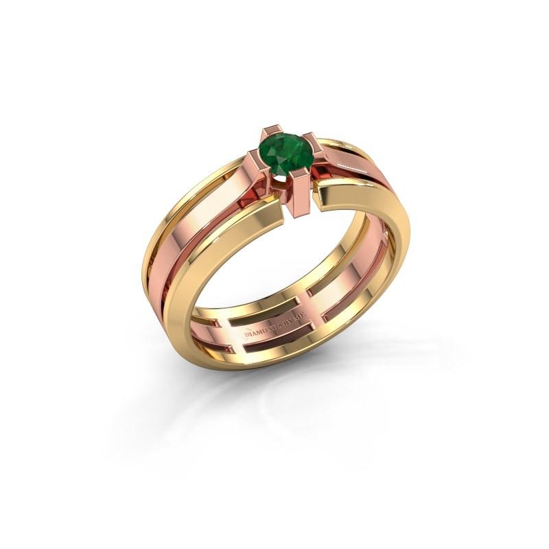 Herrenring Sem 585 Roségold Smaragd 4.7 mm