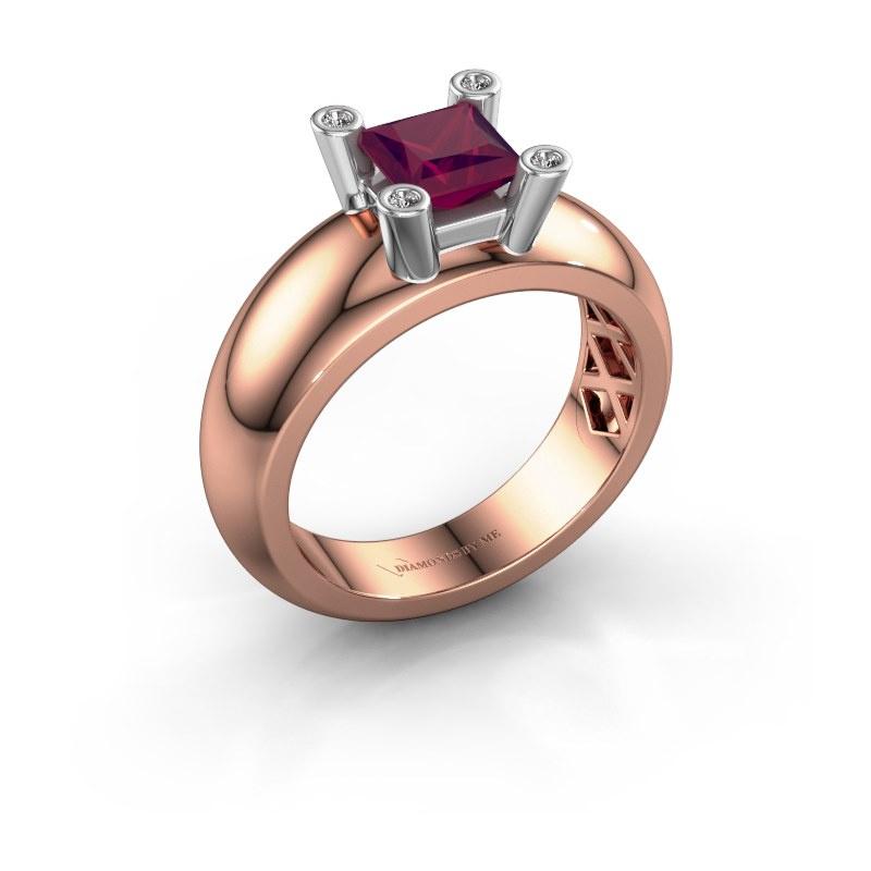 Ring Cornelia Square 585 rose gold rhodolite 5 mm