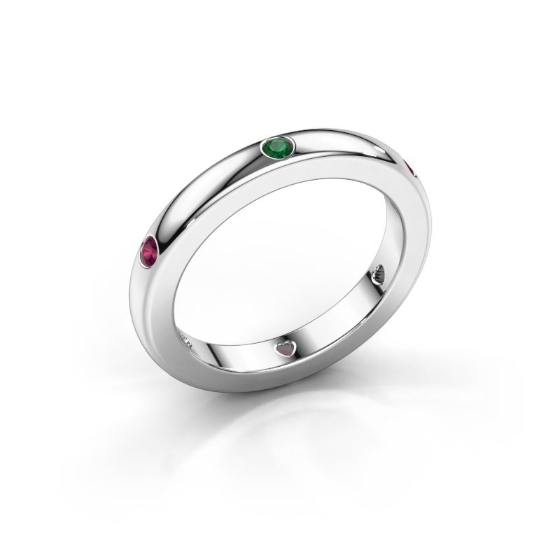 Stackable ring Charla 375 white gold emerald 2 mm