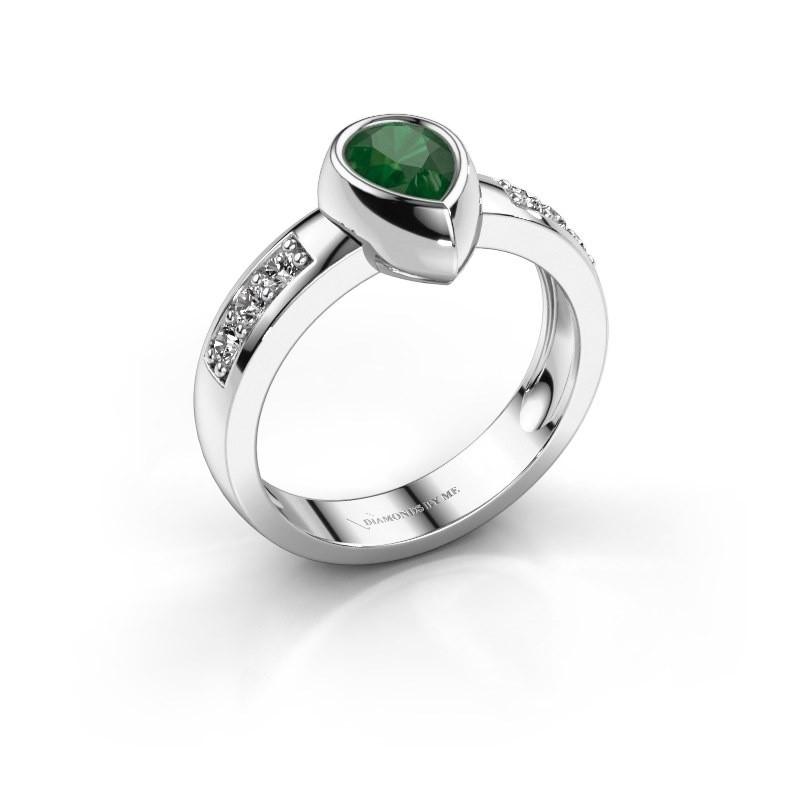 Ring Charlotte Pear 925 Silber Smaragd 8x5 mm
