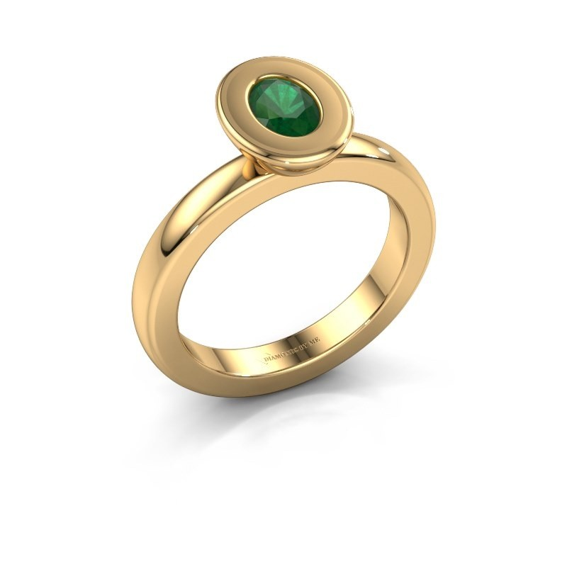 Stapelring Eloise Oval 585 goud smaragd 6x4 mm
