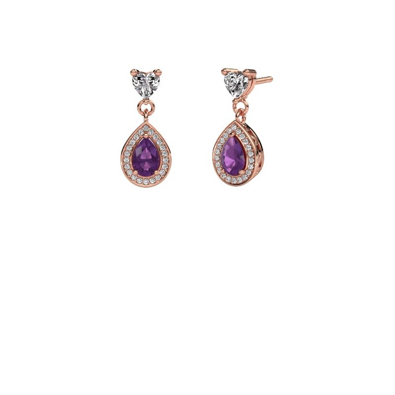 Drop earrings Susannah 375 rose gold amethyst 6x4 mm