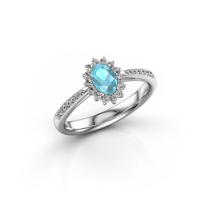 Engagement ring Tilly ovl 2 585 white gold blue topaz 6x4 mm