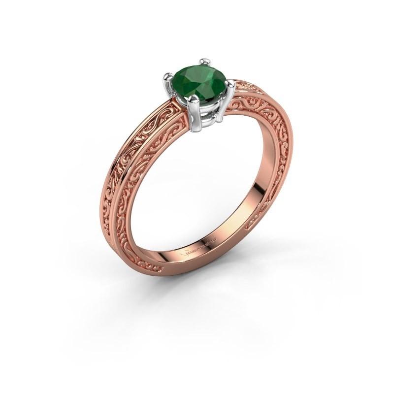 Verlovingsring Claudette 1 585 rosé goud smaragd 5 mm
