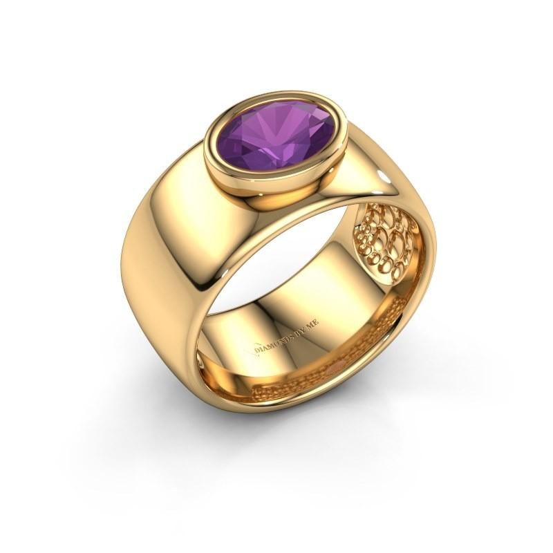 Ring Anouschka 585 goud amethist 8x6 mm