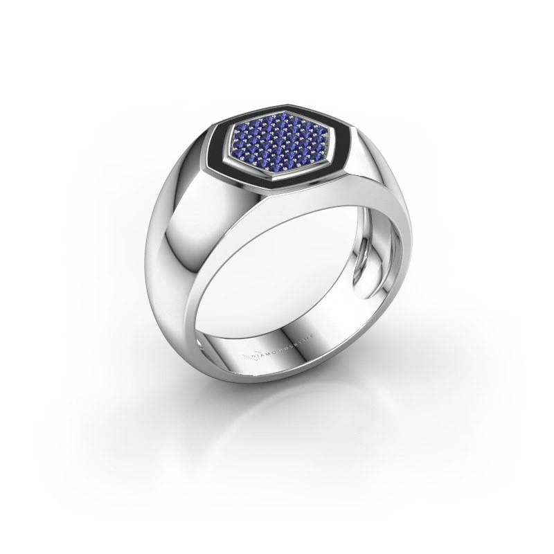 Heren ring Kris 925 zilver saffier 1.1 mm