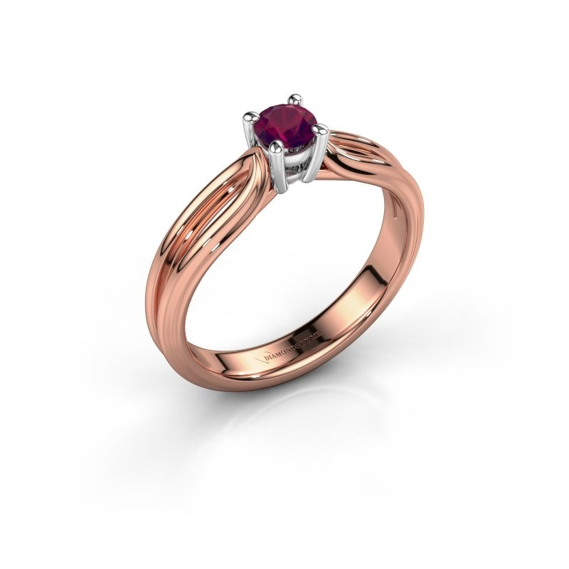 Verlovingsring Antonia 1 585 rosé goud rhodoliet 4 mm