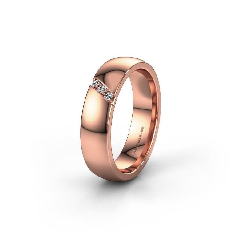 Trouwring WH0174L25BP 375 rosé goud zirkonia ±5x2 mm