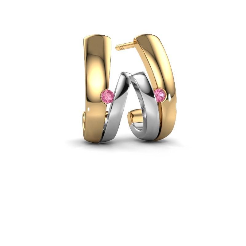 Oorbellen Shela 585 goud roze saffier 2 mm