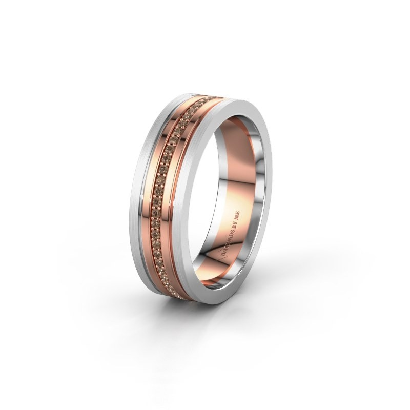 Wedding ring WH0404L16A 585 rose gold brown diamond ±6x1.7 mm