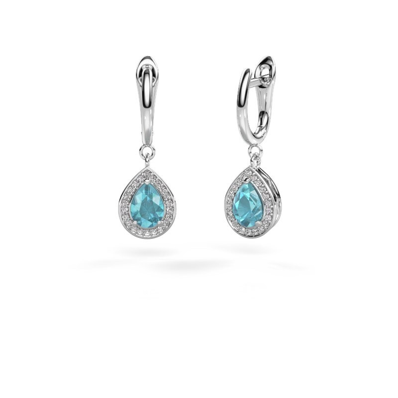 Drop earrings Ginger 1 950 platinum blue topaz 7x5 mm